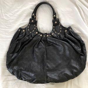 Gucci Pelham Large Guccissima Leather Hobo Black